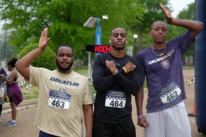 Members of Omega Psi Phi Fraternity, Inc. joined the effort to stamp out obesity. (Photo by Aron Smith/JSU)