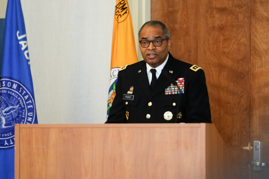 Gen. Aundre F. Piggee, deputy chief of Staff, G-4, United States Army, served as keynote for the commissioning ceremony hosted by the College of Liberal Arts on May 2. (Photo by Charles A. Smith/JSU)