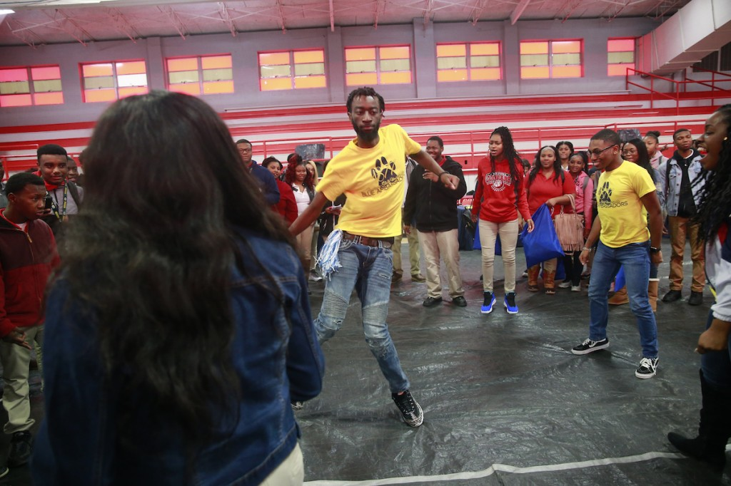 JSU Blue Ambassadors crank it up for the crowd at North Panola. (Photo by Charles A. Smith/JSU)