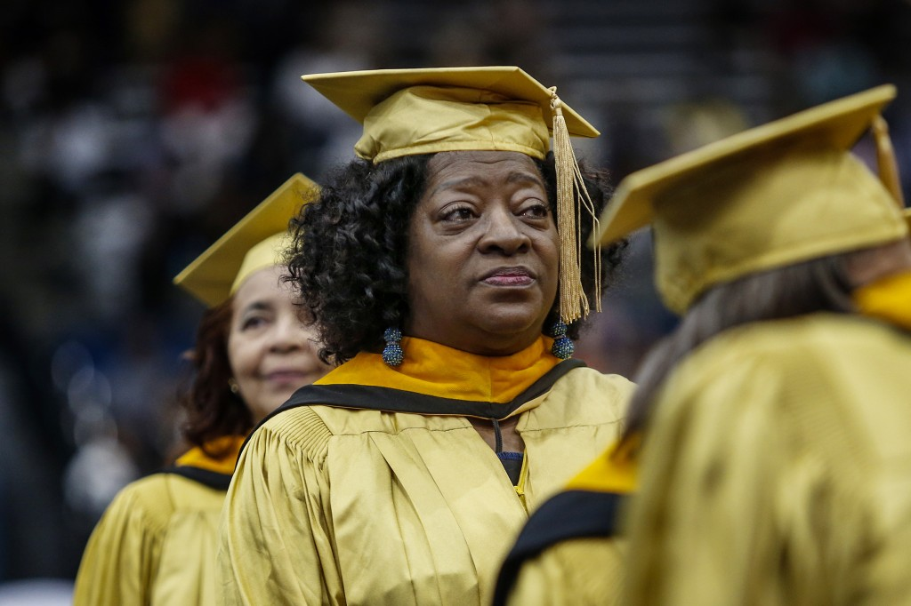 Renowned actress and university professor Tonea Stewart basks in the moment before receiving her golden degree.