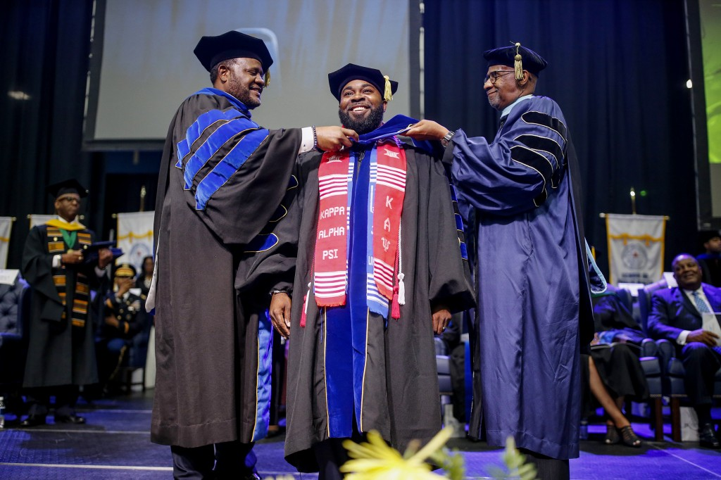 """I feel extremely prepared and equipped to compete globally, and continue the legacy of Jackson State University of Challenging minds and Changing lives. My journey through the doctoral program at JSU was extremely rigorous, and rewarding. There were times I wanted to throw in the towel, but I had a praying wife, and family who kept me motivated throughout the process,"" says Donyea Hargrove."
