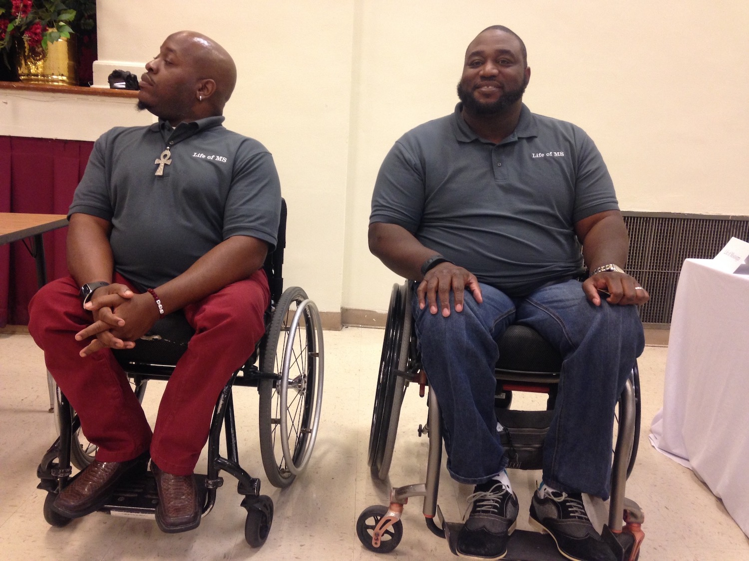 Motivational  speaker Dwight Owens, right, and JSU alum Mario Henderson were special guests during a presentation by JSU's Metro Jackson Community Prevention Coalition (MJCPC). The organization invited Lanier High School students to hear about the consequences of drunken-driving.