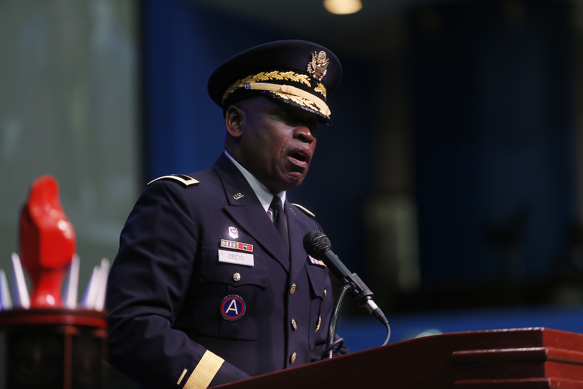 "Brigadier Gen. (Ret.) Robert Crear, a 1975 JSU alum, said an ideal ""life blueprint"" always includes a foundation built on values. These include integrity, dignity and respect. (Photo by Charles A. Smith/JSU)"