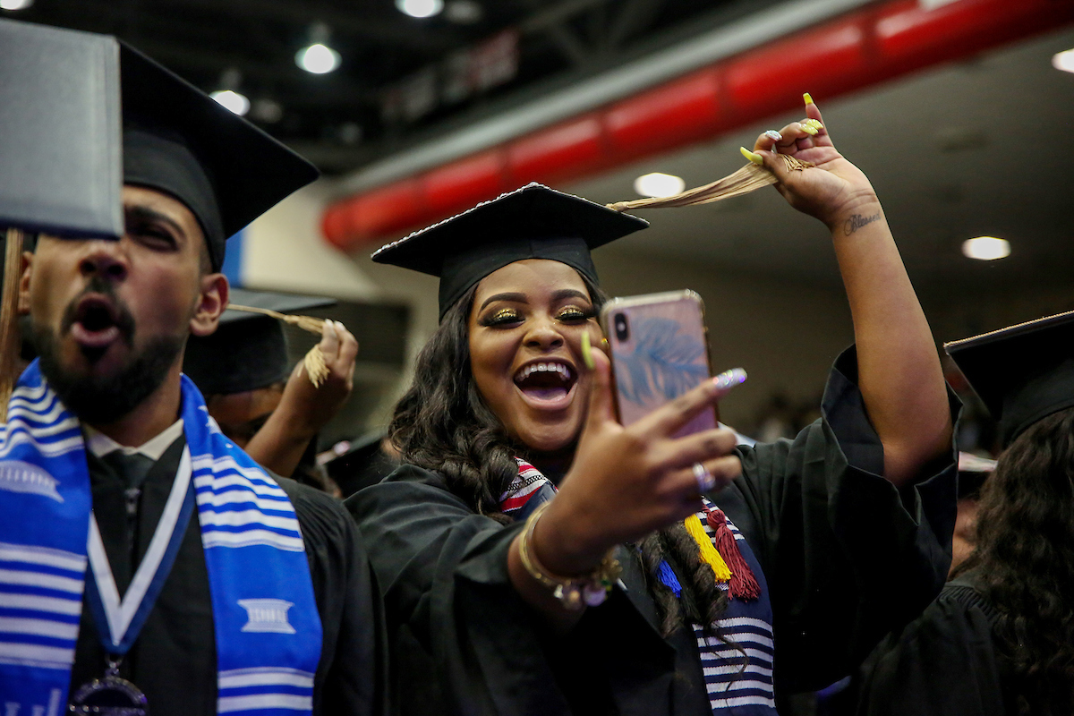 After receiving their degrees, graduates move their tassels to the left. (Photo by Kentrice S. Rush/JSU)