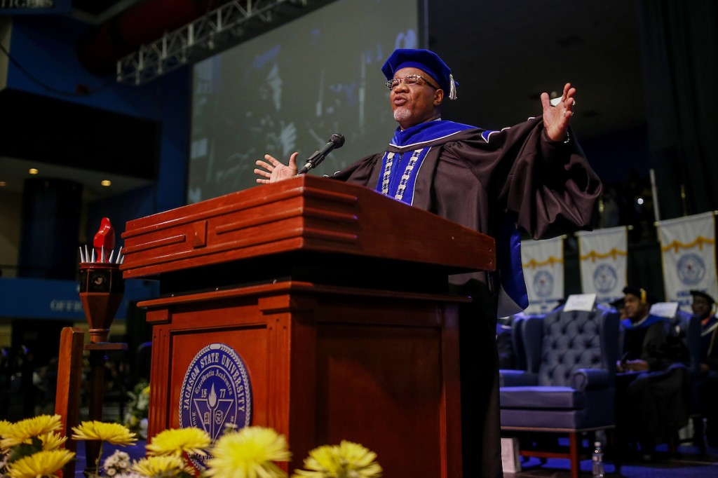 """Thank you, Lawdy."" Bynum salutes and extends well-wishes to graduates. (Photo by Charles A. Smith/JSU)"