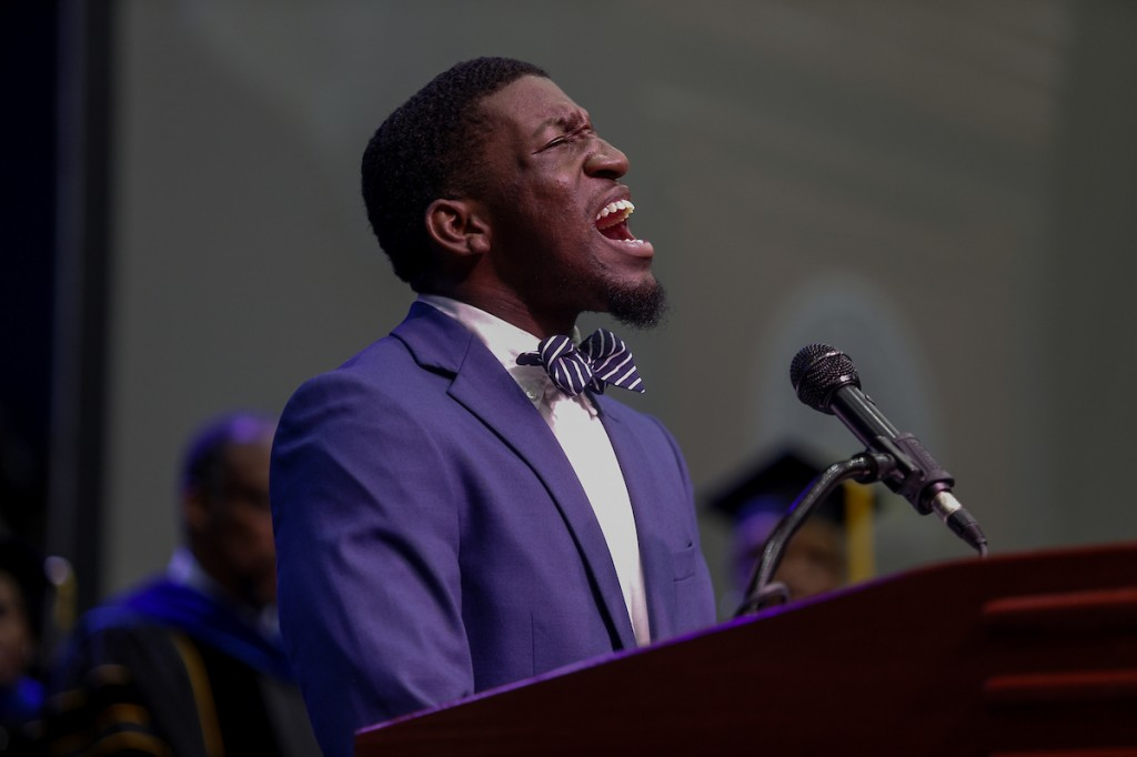 """Raising the rafters, Gavin Hughes gives a resounding rendition of """"Lift Ev'ry Voice and Sing."""" (Photo by Charles A. Smith/JSU)"""