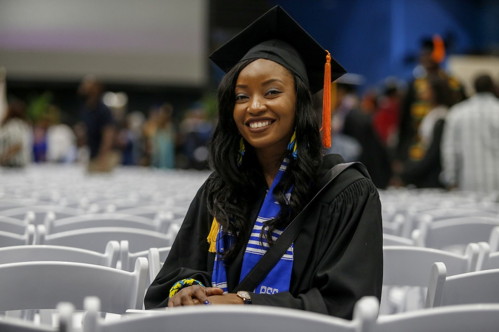 "Katia Lele of Cameroon in Central Africa earned her bachelor's degree in civil engineering in the College of Science, Engineering and Technology. She said graduation represents ""closure"" after many sleepless nights. (Photo by Charles A. Smith/JSU)"