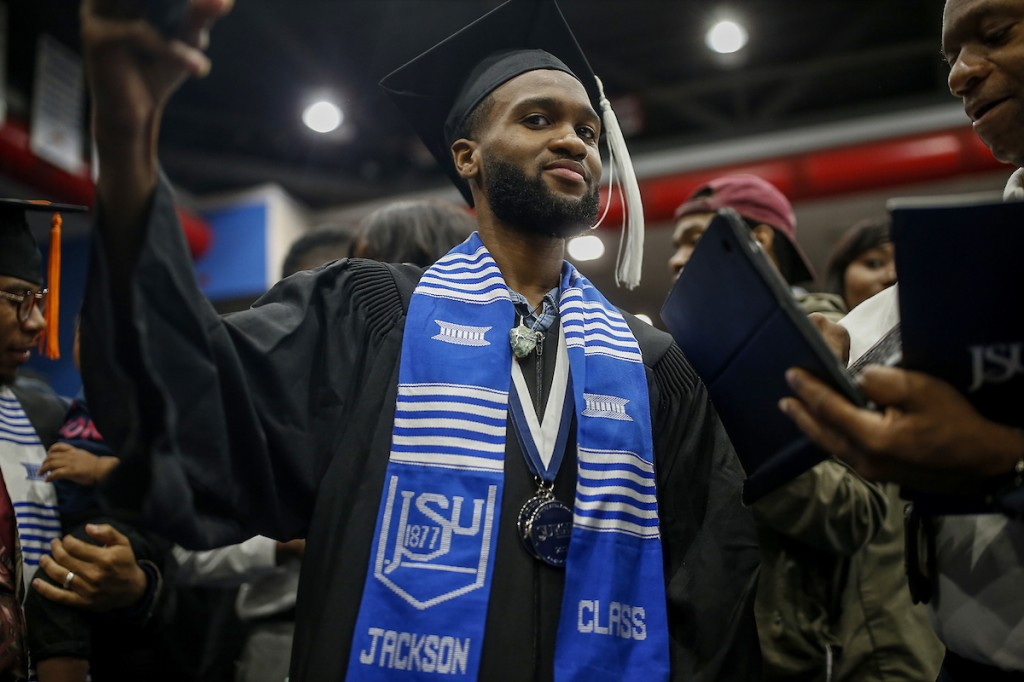 "William H. Kelly III received his degree in mass communication in the College of Liberal Arts' Department of Journalism and Media Studies. The native of Houston, Texas, said, ""There were so many times when I didn't think I was going to make it."" (Photo by Charles A. Smith/JSU)"