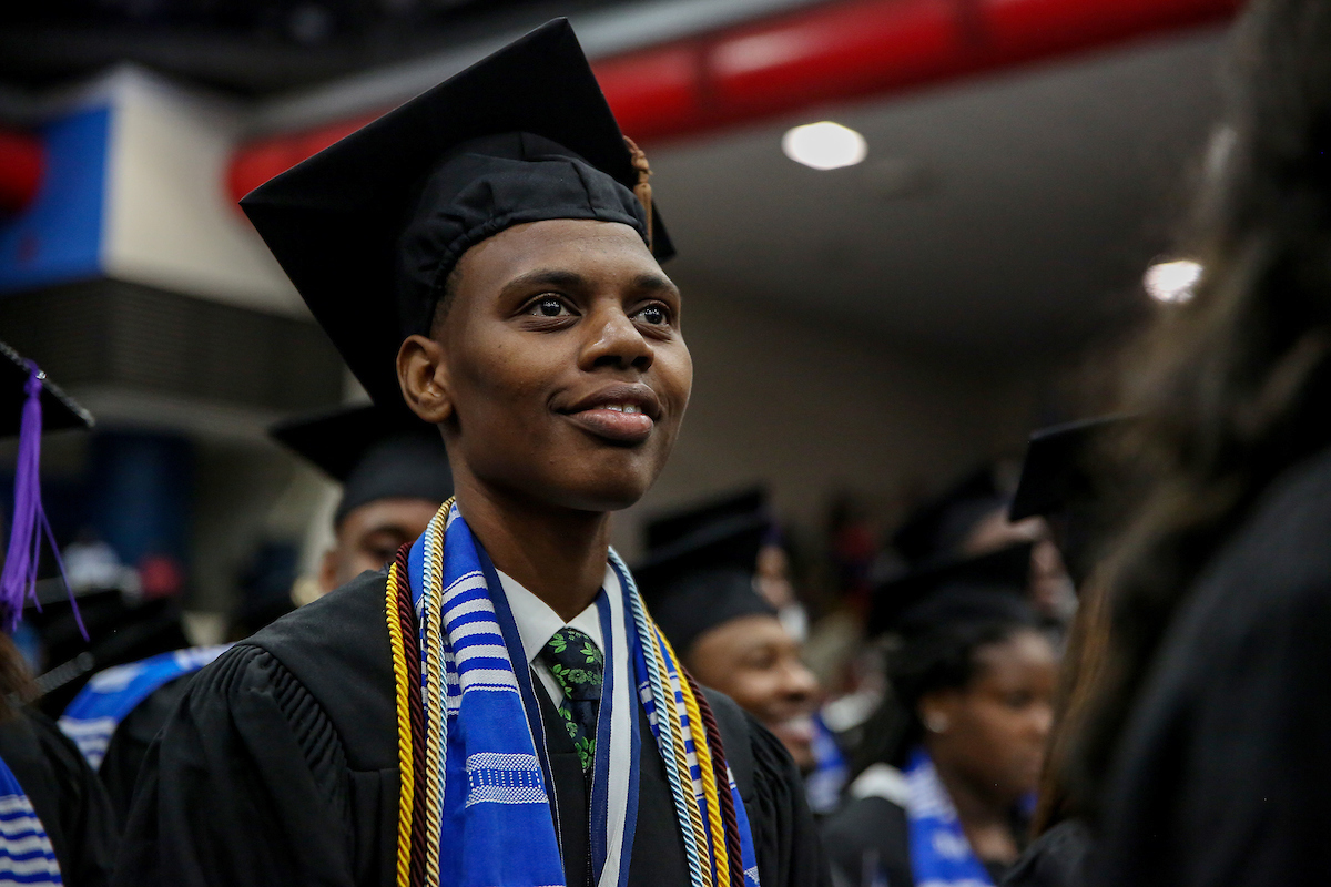 "Denzel Fort of Natchez is a graduate in Speech and Dramatic Art in the College of Liberal Arts. He overcame many obstacles toward his bachelor's degree. After his hard work, he's planning a trip to Mexico for a ""real vacation from everything."" (Photo by Kentrice S. Rush/JSU)"