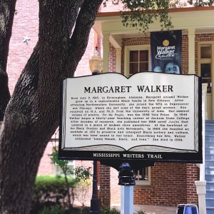 The Mississippi Writers Trail celebrated the literacy contributions of Margaret Walker with a marker outside the Marget Walker Center at Jackson State University. (Photo special to JSU)