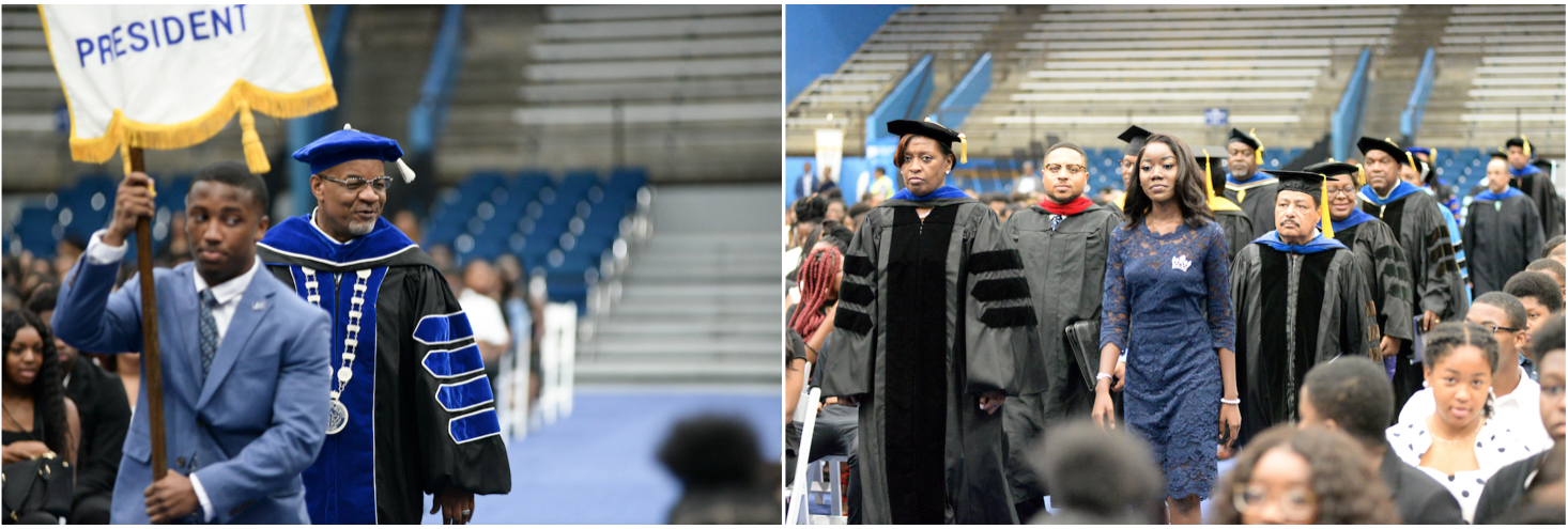 LEFT:  JSU President William B. Bynum Jr. is escorted into the Lee E. Williams Athletics and Assembly Center by SGA President Jordan Jefferson.RIGHT: Associate Vice President for Student Affairs Dr. Susan Powell, left, along with Miss JSU Naysa Lynch, lead a processional of faculty and staff into the arena. (Photos by Darek Ashley/Special to JSU)