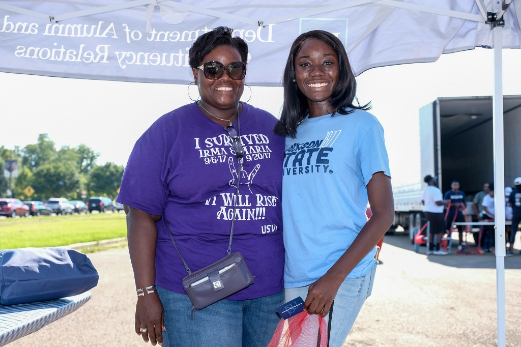 Naysa Lynch, Miss Jackson State University, and her mother, Monique Lynch Richards, are natives of the U.S. Virgin Islands. Richards said that community outreach events like the Crop Drop is one reason she is such a big advocate for JSU. (Photo by Charles A. Smith/JSU)