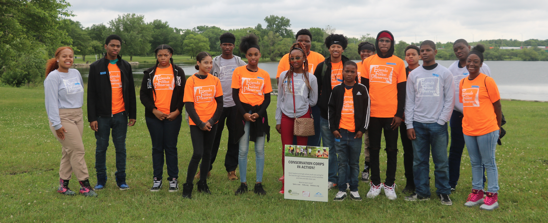 Jackson State University CSET student Antonio Richardson, fifth from left, just completed his annual pilgrimage to a forest in the Chicago area, where he helped Illinois teenagers learn about the environment and conservation. The 21-year-old team leader is studying industrial technology in the College of Science, Engineering and Technology and is a native of Illinois. He works with a forest preserve program in Cook County that provides a summer job to at-risk youth that is fun and educational, yet involves some labor.