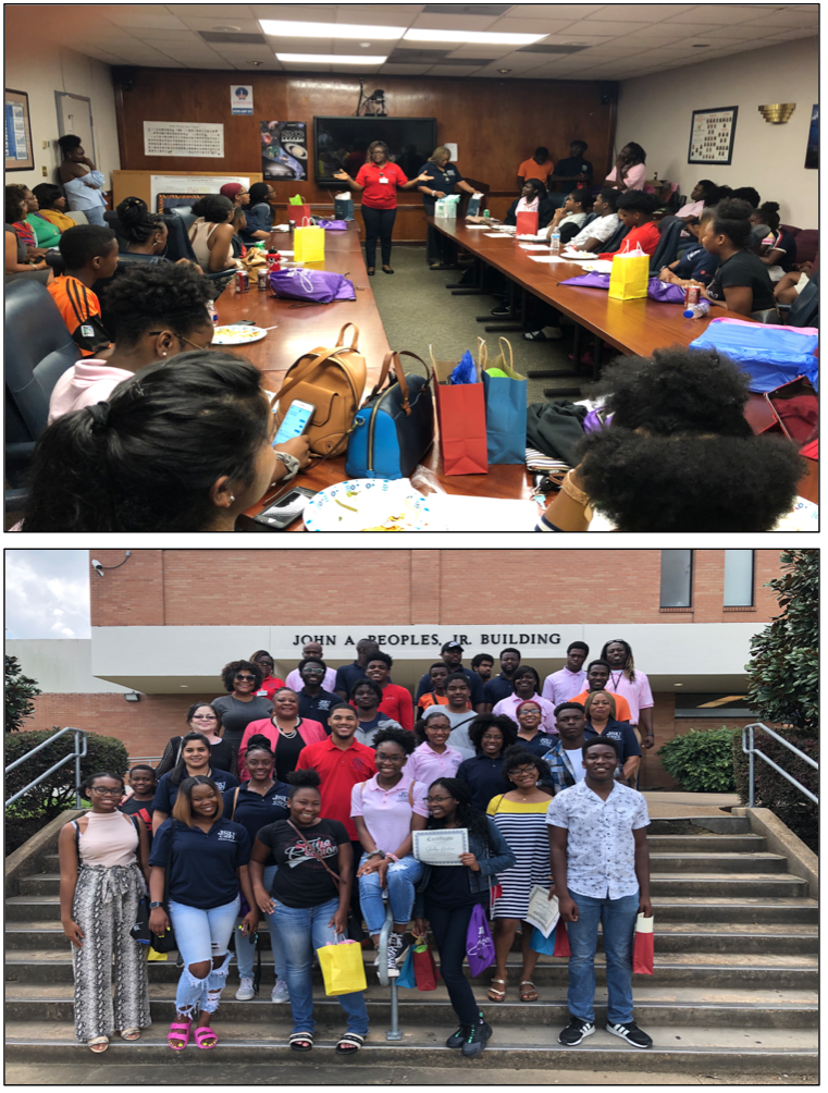 TOP: Students and volunteers are recognized for their accomplishments and support before they depart to prepare for another academic year at their various schools. BOTTOM: Support staff and students gather for a final farewell. (Photo by L.A. Warren/JSU)