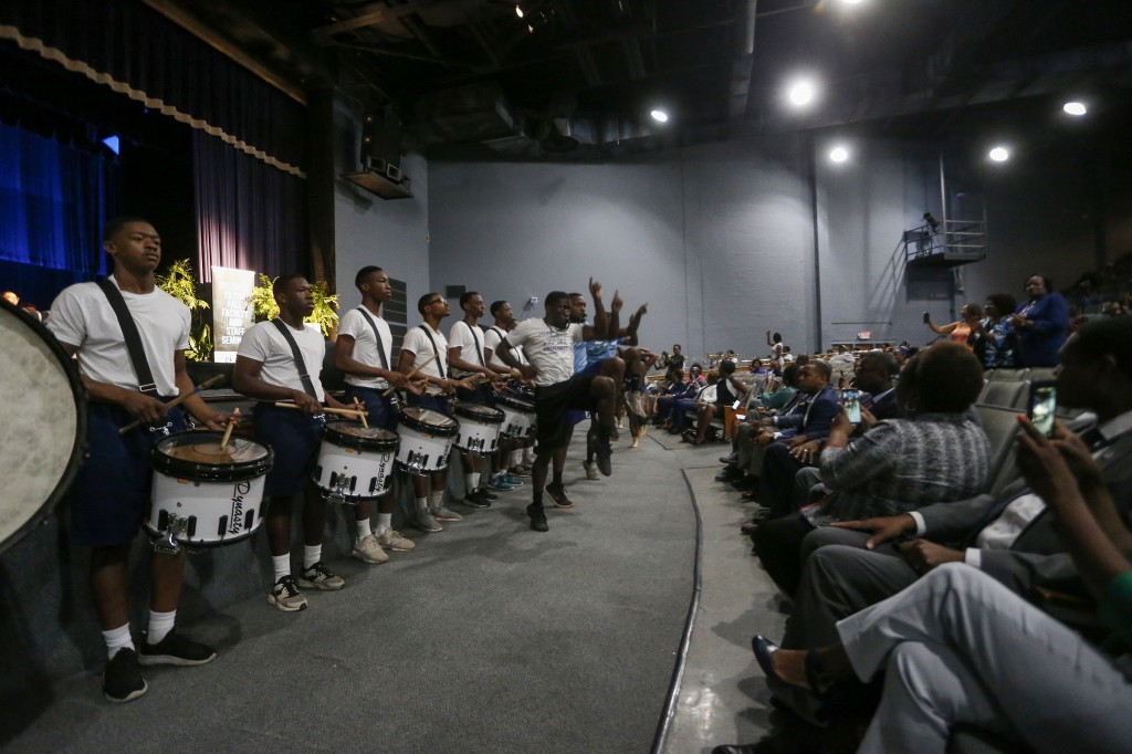 Members of Jackson State University's Sonic Boom of the South entertained the audience at this year's Fall Faculty & Staff Seminar. (Photo by Charles A. Smith/JSU)