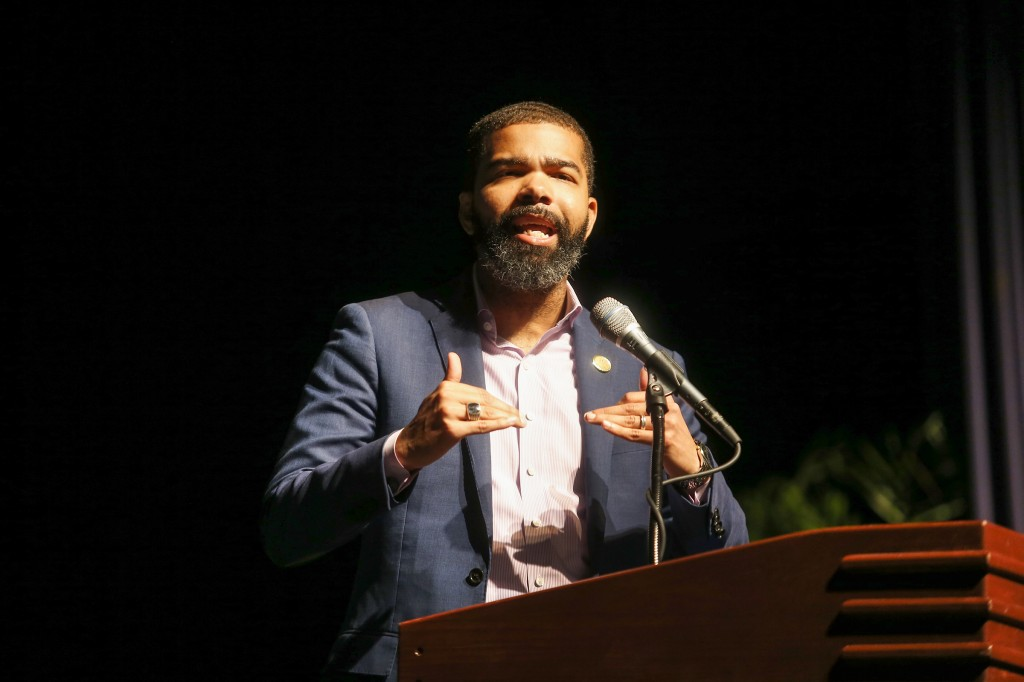 "Chokwe Antar Lumumba, mayor of Jackson, gave greetings at JSU's Fall Faculty & Staff Seminar on August 8. The mayor said: ""As an institutional asset of this city, a city that has declared its mission to be one of the most radical or thee most radical place on this planet, you must continue to serve as a market place of ideas."" (Photo by Charles A. Smith)"
