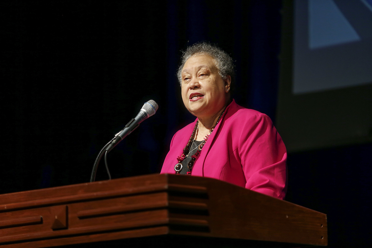 "Dr. Belle S. Wheelan is the first African-American and first women to lead the Southern Association of Colleges and Schools Commission on Colleges (SACSCOC). The organization sets standards for 794 academic institutions. She was the keynote speaker Friday for the 2019 Fall Faculty and Staff Seminar in the Rose E. McCoy Auditorium. Her keynote address was titled ""Yesterday, Today and Tomorrow: Preparing for the Post-Traditional Student."" She provided her thoughts on what tomorrow's campus would look like. (Photo by Charles A. Smith/JSU)"