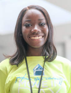 """Naysa Lynch, Miss JSU 2019-2020 speaks about her upcoming plans for student involvement and inclusion on campus. """"I plan to make myself as accessible as possible to all students especially the freshman."""" (Photo by Charles A. Smith/JSU)"""