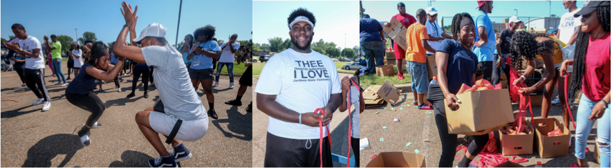 Students serve the community and have fun doing it at the 2019 Crop Drop held in the parking lot of Blackburn Middle School. Students (left) dance to the beats supplied by a DJ posted on site. James Kangar, (center), a senior business administration major, pauses from prepping bags for the sweet potatoes. A transfer student from Hinds Community College, Kangar said he loves that Jackson State makes sure students participate in community outreach. One student (right) stops to smile for the camera as she carries a box packed full of sweet potatoes. Photos by Charles A. Smith/JSU)