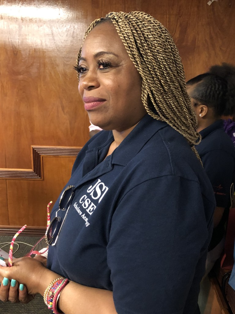 """Dr. Martha Tchounwou, director of Student Support Services in CSET, said summer program is ideal for high school students in Grades 10-12 who express an interest in STEM. """"This has been a fabulous year because the girls learned how to program."""" (Photo by L.A. Warren/JSU)"""