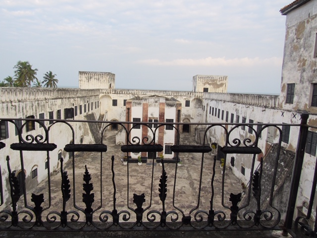 "Jackson State University students toured Ghana's Elmina Slave Castle or ""dungeons"" where enslaved Africans were housed for as long as three months while waiting to be transported across the Atlantic. In the center, sits a church. (Photo special to JSU)"