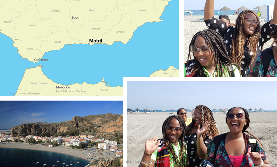 A map of Motril, Spain, shows its proximity to the Strait of Gilbratar as students frolic on the Motril Beach on the Mediterranean Sea.