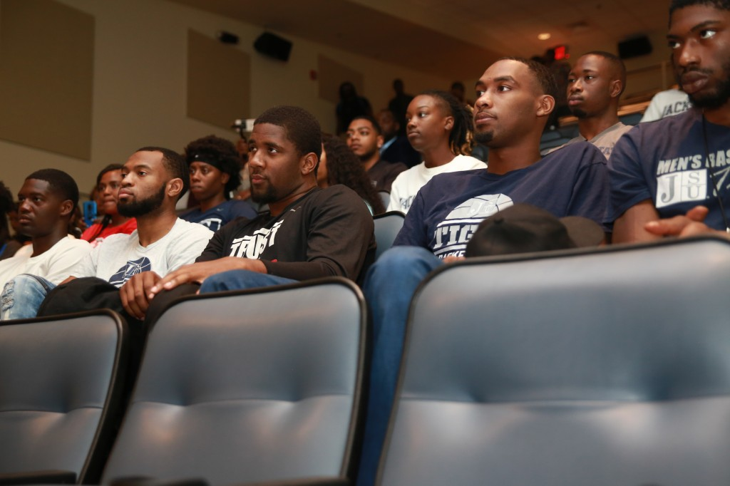 "Members of JSU's men and women's basketball team soak up the multitude of information shared by Earvin ""Magic"" Johnson, retired NBA Laker turned businessman. Johnson said he has been disciplined his whole life. ""I've never been late. I've been in business now for over 35 years,"" he said. (Photo by Aron Smith/JSU)"