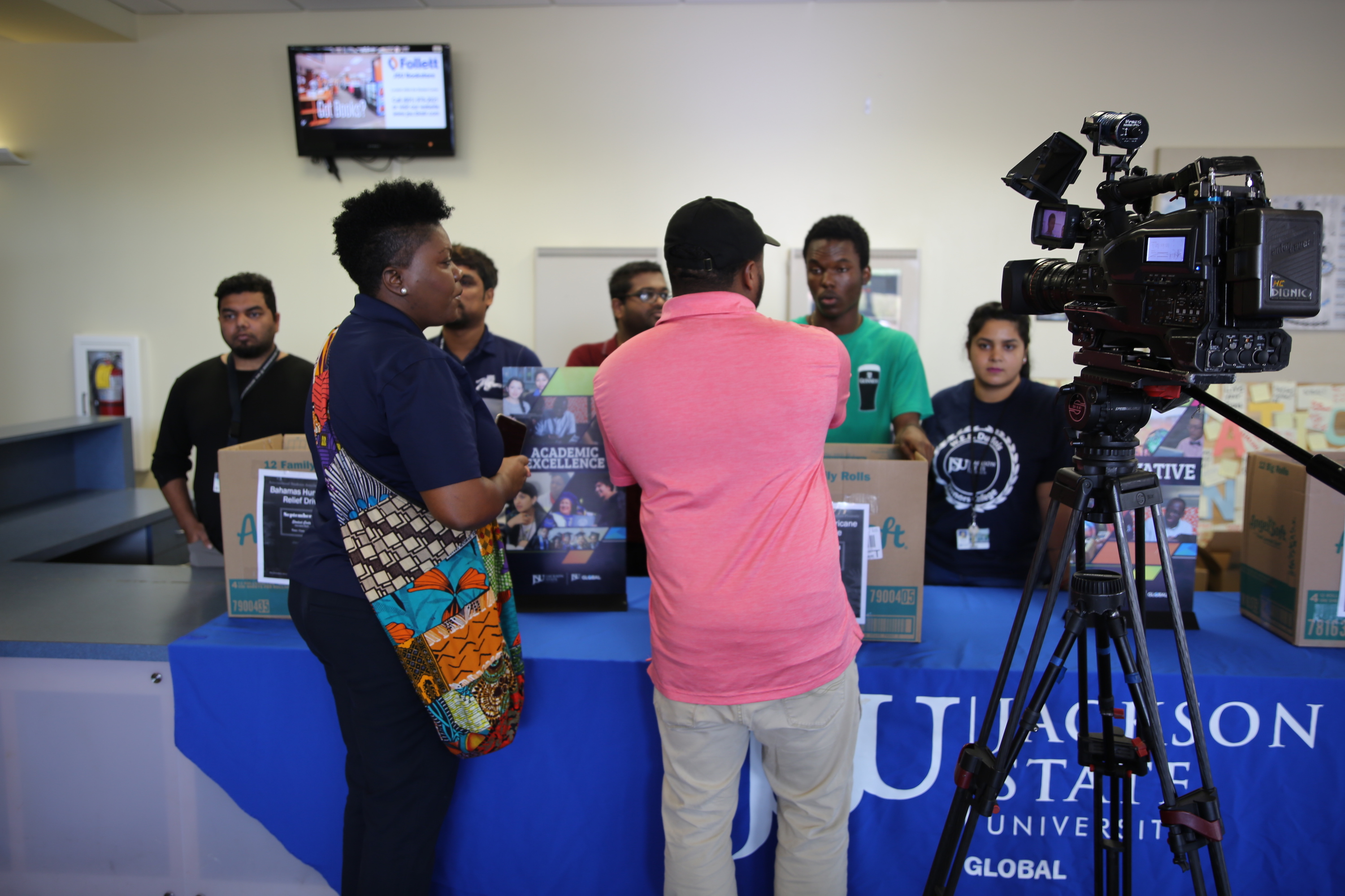 Jackson State University's International Student Association assisted with collecting items that were dispatched to the Bahamas. The nation was ravaged by the deadliest hurricane on record to strike the area. (Photo by L.A. Warren/JSU)