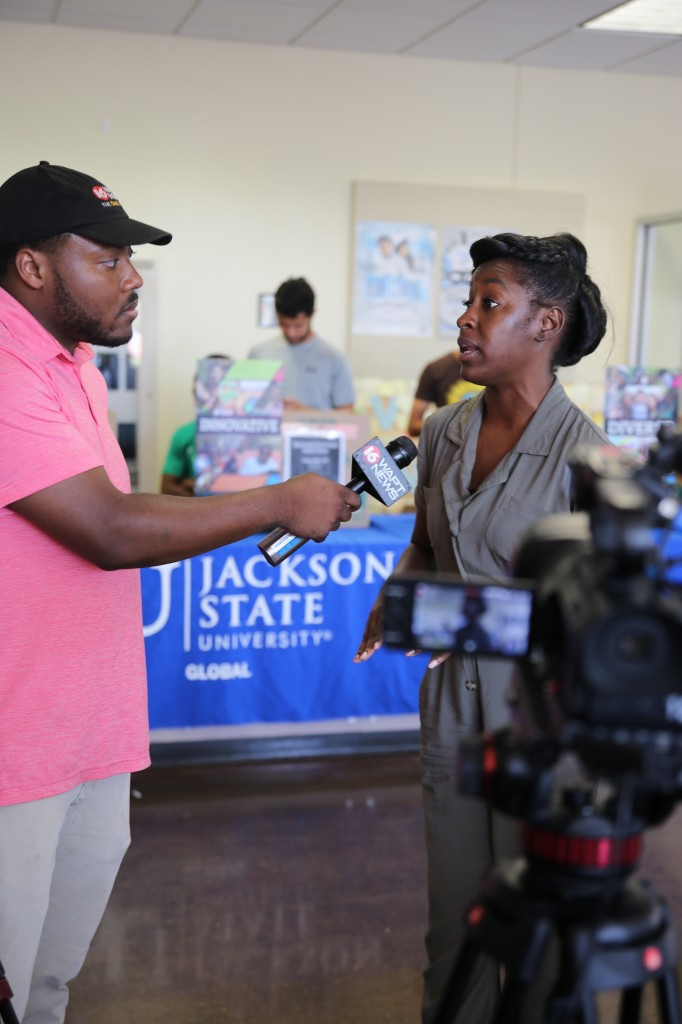 JSU Bahamian student Tameka Stewart discusses the loss of her aunt during Hurricane Dorian. Stewart is a doctoral student studying behavioral health in JSU's School of Public Health. (Photo by L.A. Warren/JSU)