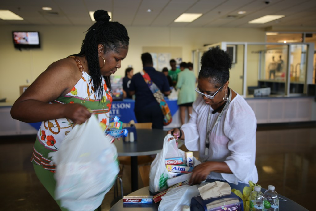 A service organization called Peace and Pearls also donated items to victims of the storm. (Photo by L.A. Warren/JSU)