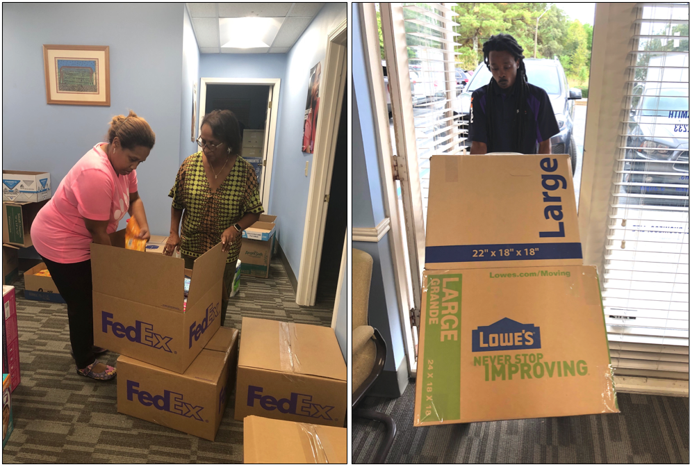 Members of the Lefluer's Bluff Chapter of The Links Inc. packaged items slated for the Bahamas that was shipped by FedEx. (Photo courtesy of The Links Inc.)