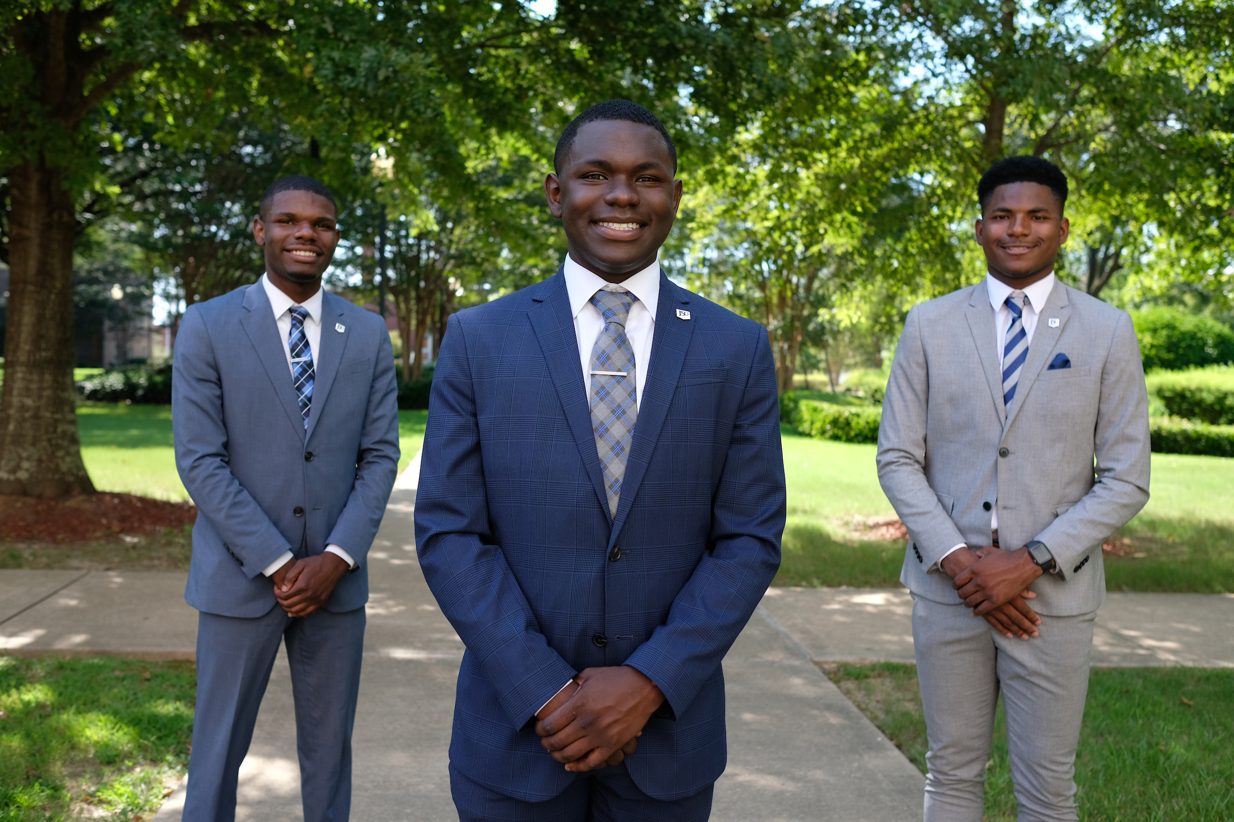 Brothers Jaquan Powell (left), LaCurtis Powell, (center) and David White, (right) have made attending Jackson State University and claiming the title of Mr. Freshman a family tradition. (Photo by Charles A. Smith/JSU)