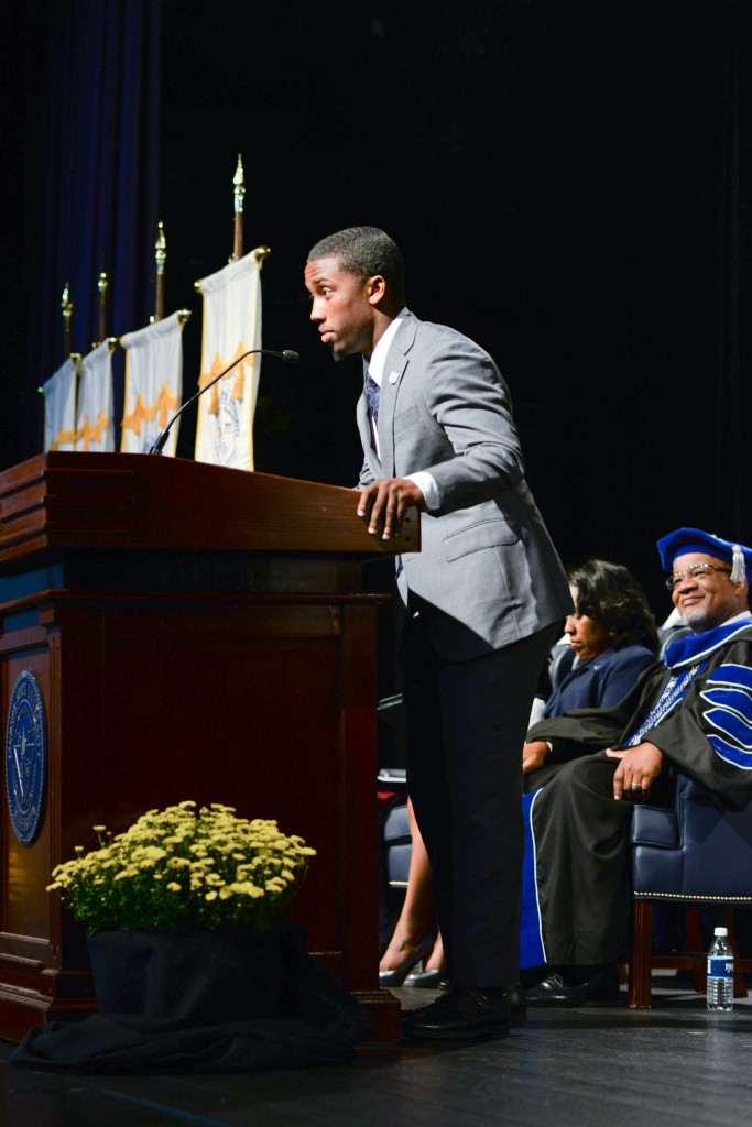 Jordan Jefferson, SGA president, offered greetings on behalf of the student body during the 142nd Founders' Day Convocation at JSU. (Photo by Darek Ashley)