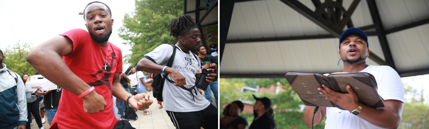 """LEFT: Students get their praise on. RIGHT: Wesley Foundation's director Pastor Kevin Kosh informs the crowd that """"our faith can carry us through when the degree can't, when our financial aid isn't coming through and when we need something that can push us forward."""""""
