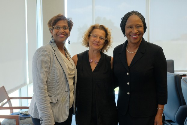 Brown Gordon, left, and Cohen, right, met with Cravo last month to advocate on behalf of student scholars. Ultimately, their conversation resulted in a major gift from the Hearst Foundation. (Photo by Charles A. Smith/JSU)