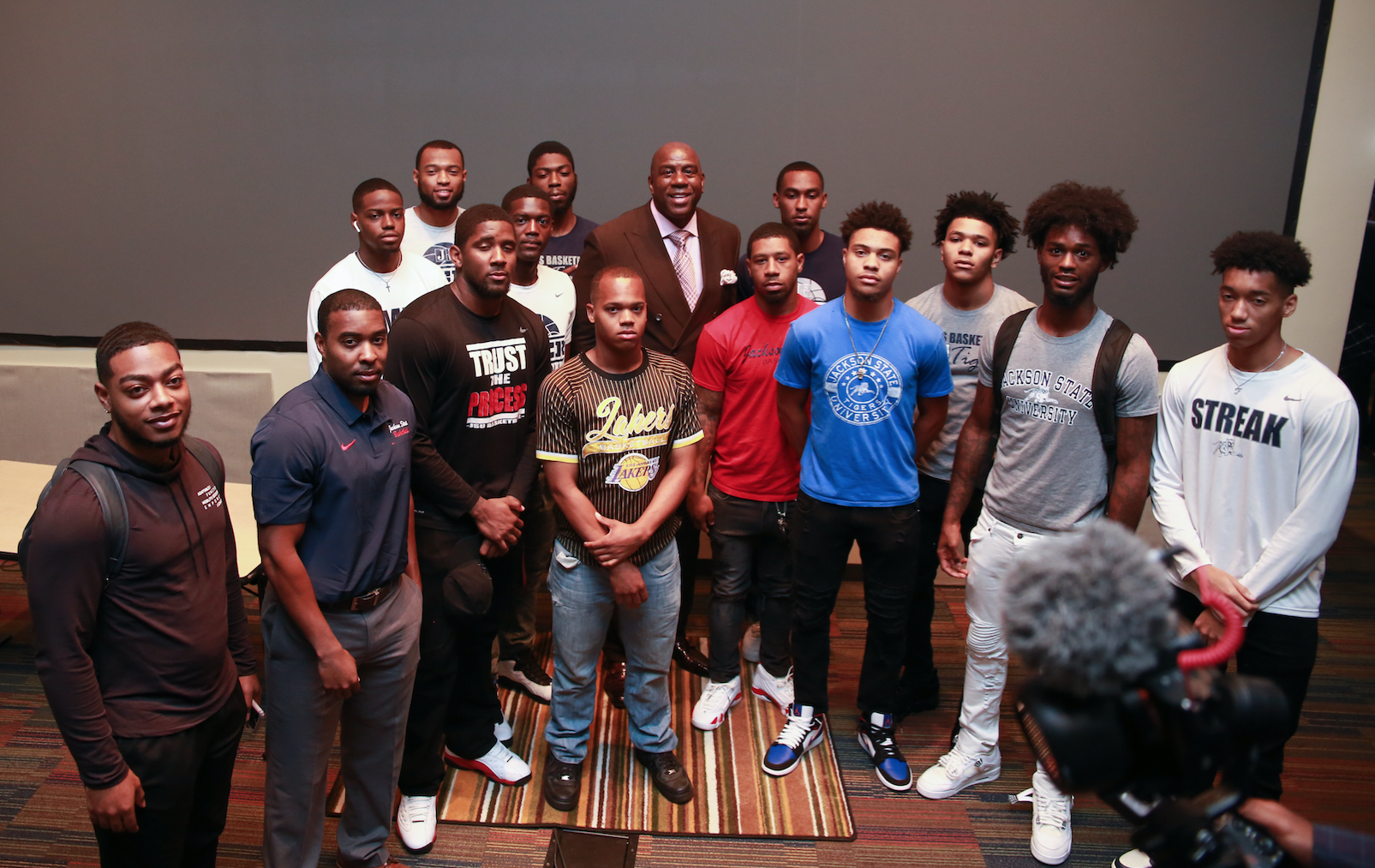 "Earvin ""Magic"" Johnson made sure to take pictures with the students and student-athletes after revving them up for the start of the basketball season. When one student asked how to prepare for non-conference games against contenders like Michigan State, Johnson said: ""Your mindset should be I'm going to win."""