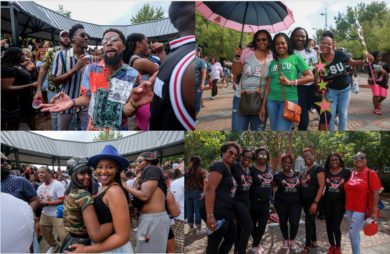 Members of sororities and fraternities grace the plaza with their designated colors and apparel. Greek life is a vital part of HBCU culture and provides a unique college experience that can lead to life-long friendships. (Photos by Aron Smith/JSU)