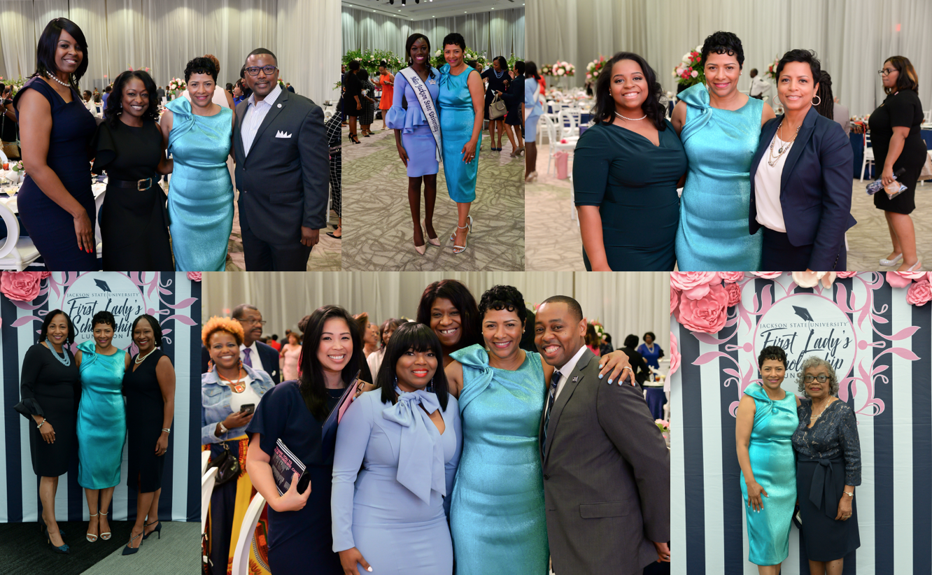 First Lady of Jackson State University, Deborah E. Bynum poses with luncheon guests after raising a total of $316,535 for student scholarships. (Photos by Darek Ashley/JSU)