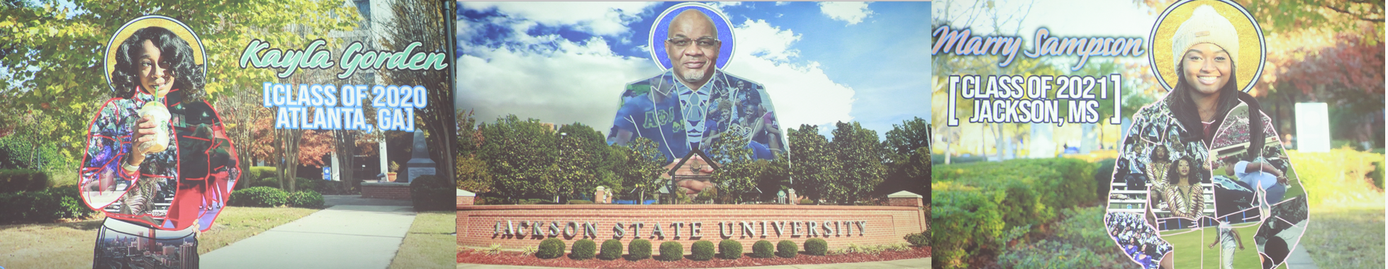 Images of Jsette captain Kayla Gorden, JSU President Dr. William B. Bynum and Jsette Mary Sampson were displayed during Kalin Norman's slideshow. The slideshow images had videos that moved within them that ultimately tells the story of Jackson State University. (Photos by Aron Smith/JSU)