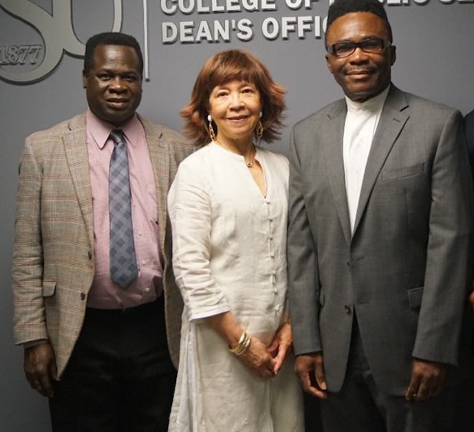 Dr. Edmund Merem, right, in JSU's Department of Urban and Regional Planning helped examine a number of environmental threats impacting the U.S., including Mississippi, as well as African nations. He's joined by Dr. Yaw A Twumasi, visiting assistant professor, and Dr. Joan M. Wesley, associate professor in the department.
