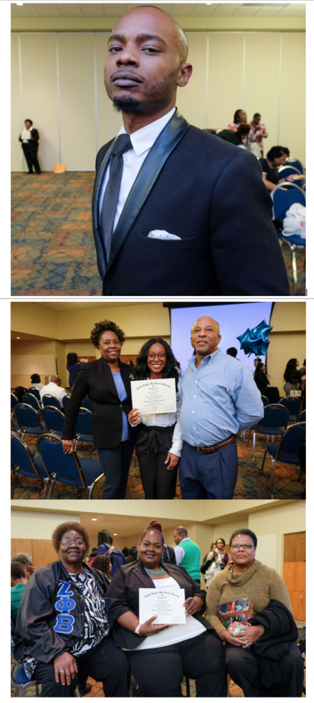 Kafond Wilder, a public policy doctoral student, (top); Toni Holloway and family, (center); and Lorraine, Jaylen and Dwayne Henry all pose for a picture after the Alpha Kappa Mu Honor Society induction ceremony on Monday night. Toni Holloway (center, middle picture), and Jaylen Henry, (center, bottom picture), proudly display their certificates certifying their status as Alpha Kappa Muans. (Photos by Charles A. Smith/JSU)