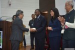 Dr. Paul B. Tchounwou, associate dean of JSU's College of Science, Engineering and Technology, is welcomed by a delegation in India.