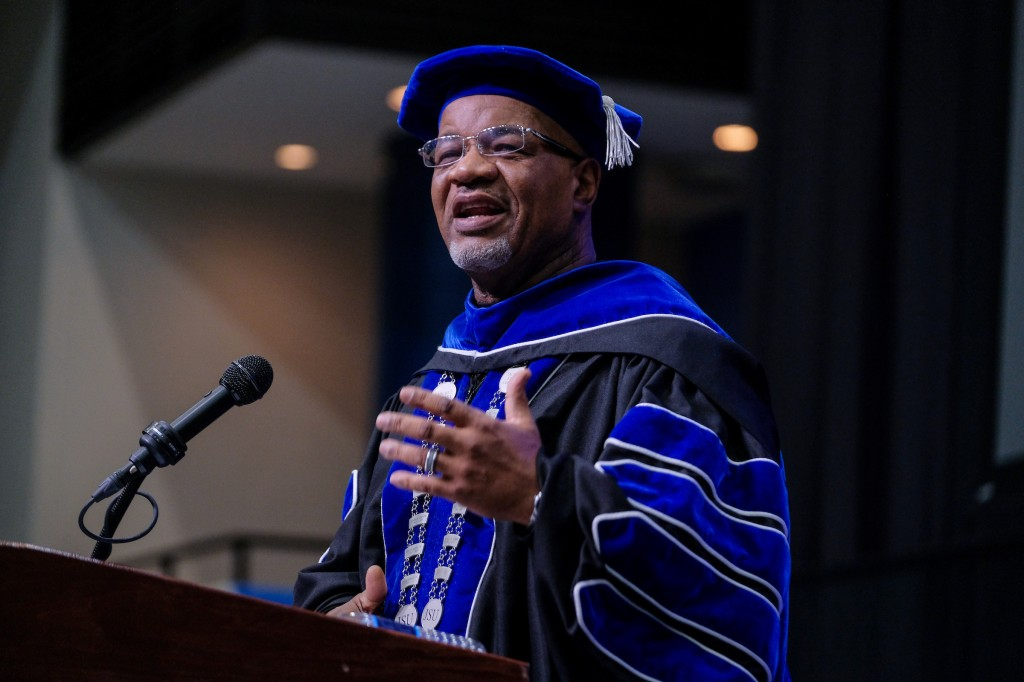 Dr. William B. Bynum, Jr. extended greetings to the class of 2019 and offered words of encouragement with gusto before commanding graduates to move their tassels representing the completion of their academic journey at the HBCU. (Photo by Charles A. Smith/JSU)