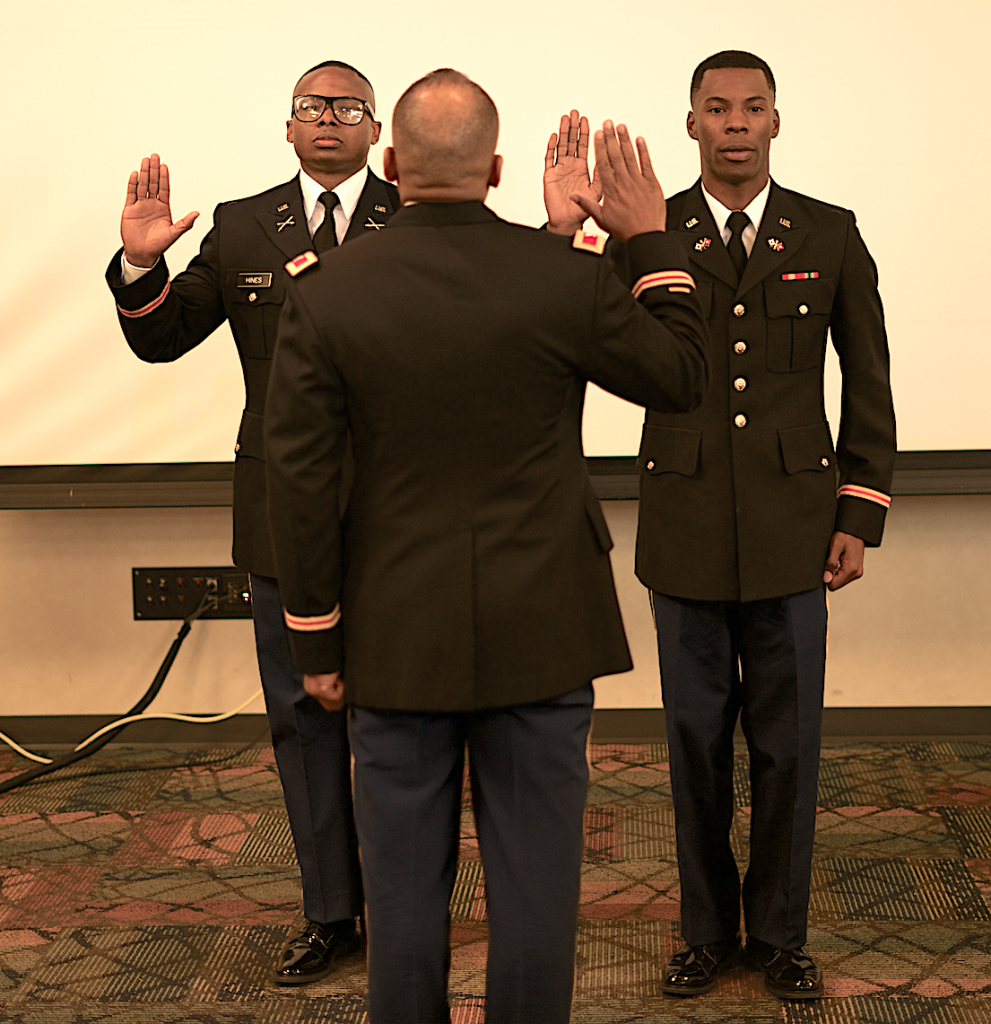 The oath of office is led by Col. Harris. (Photo by Desmond Jones/JSU ROTC)