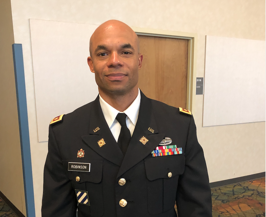 Major Steven C. Robinson is the department chair and professor of military science in the College of Liberal Arts. His promotion ceremony to lieutenant colonel will be Jan. 16, 2020 (3 p.m., Room 134, in the College of Business).