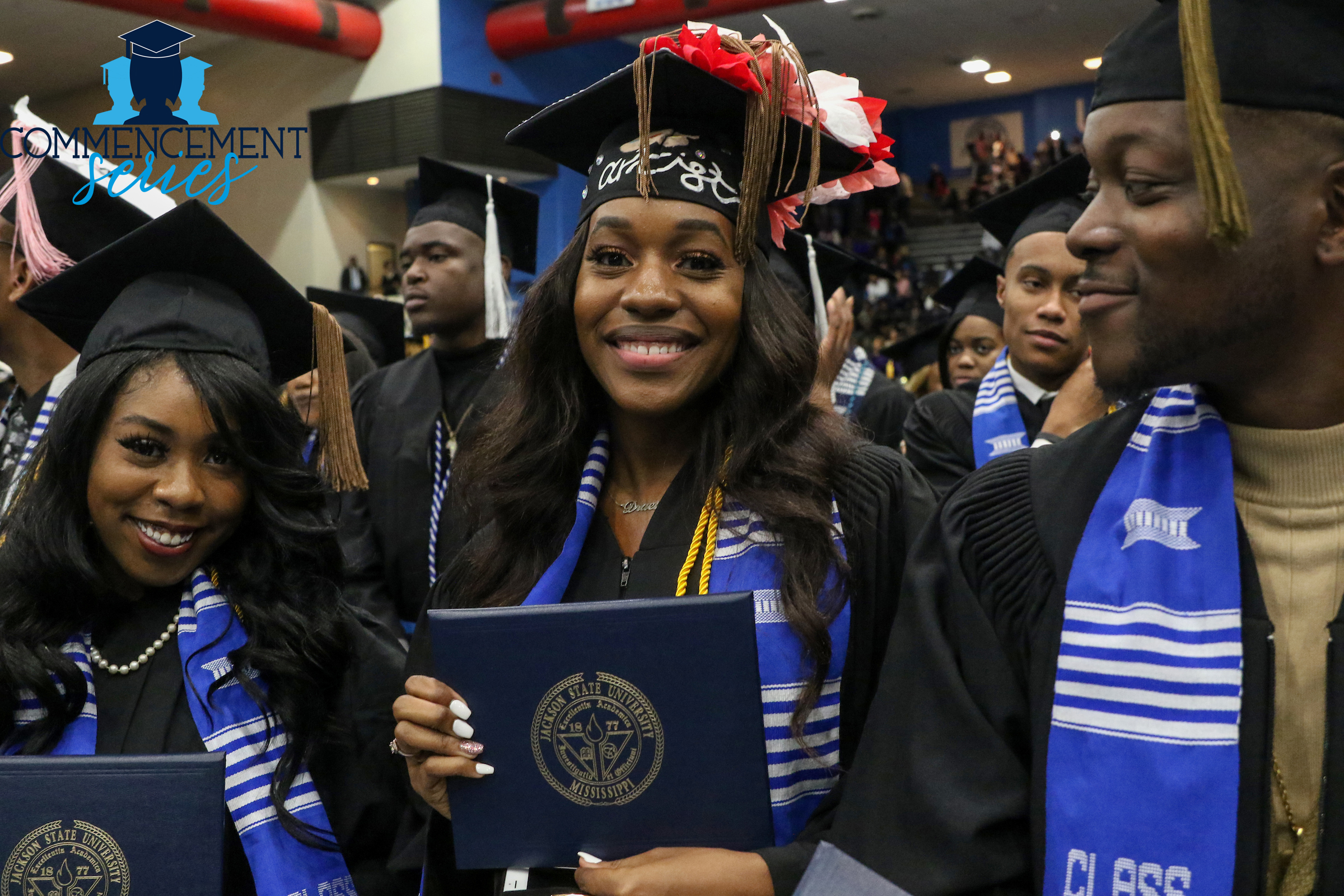 On Friday, Dec. 6, graduates were all smiles as they prepared to close one chapter and get ready for the next at Jackson State University's winter commencement ceremony. (Photo by Charles A. Smith)