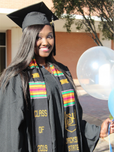 Seynabou Seck graduated with a degree in accounting and said she couldn't wait to celebrate with family. (Photo special to JSU)