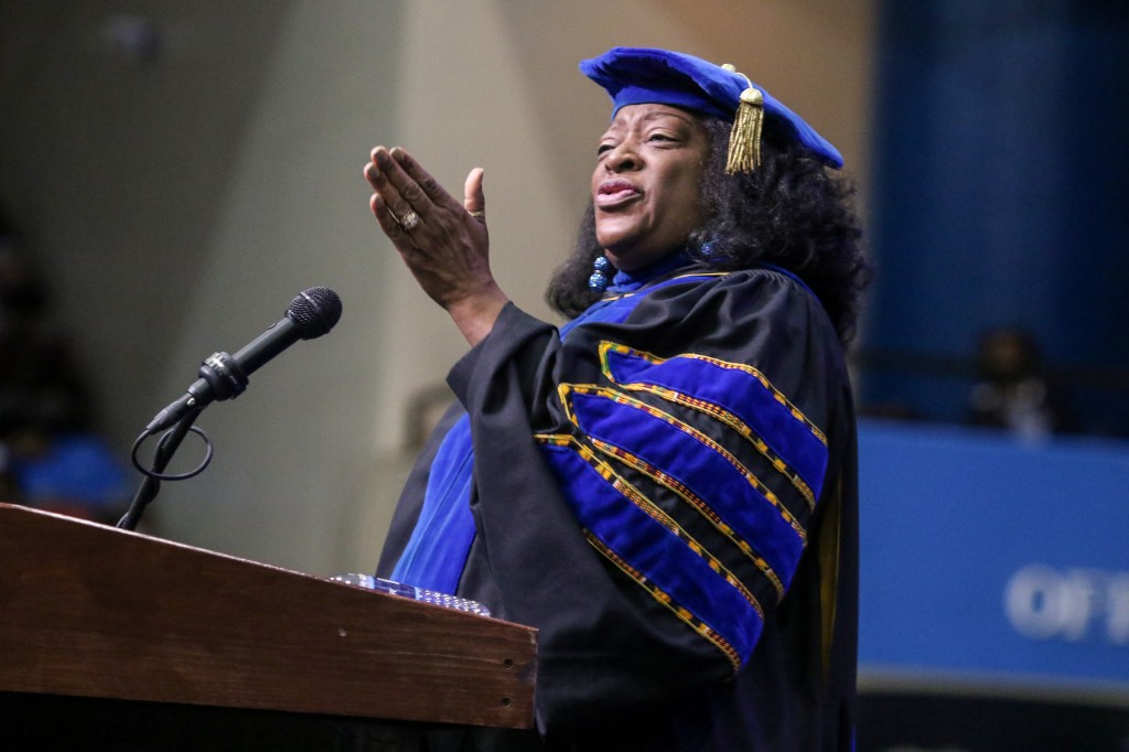 """Dr. Tonea """"Tommie"""" Stewart, JSU alum and Miss JSU '68, served as the keynote speaker at Jackson State University's commencement speaker. Stewart, an actress, has had a successful television and movie career and now serves as Dean of the College of Visual and Performing Arts at Alabama State University. (Photo by Aron Smith)"""