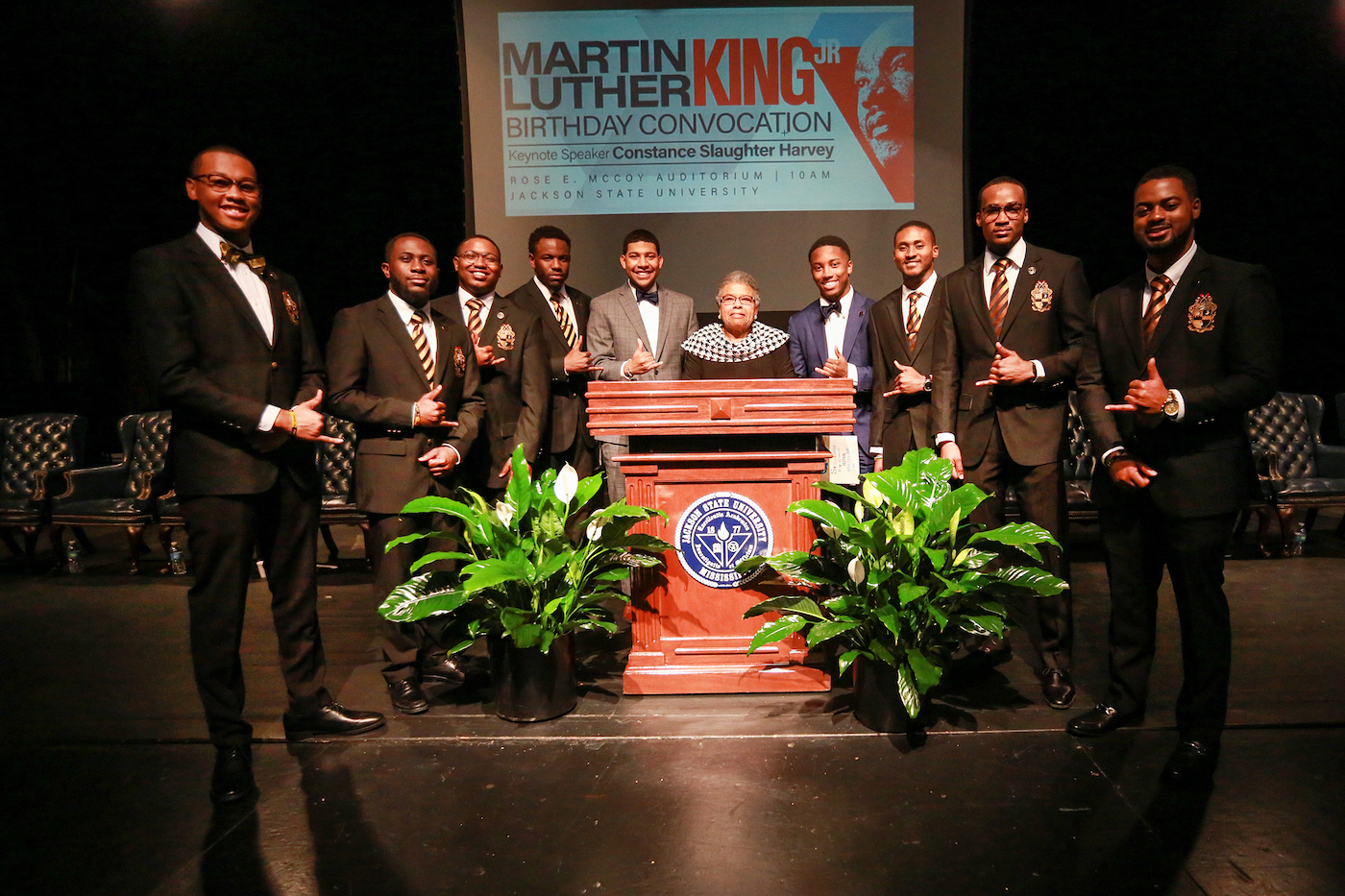 Members of Alpha Phi Alpha Fraternity, Inc. honor their fraternity brother Dr. Martin Luther King Jr. by serving as ushers at the MLK Convocation. (Photo by Aron Smith/JSU)