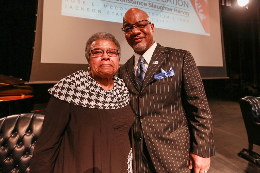 "JSU President William B. Bynum Jr. appears with Slaughter-Harvey. He told the audience that ""I don't know how many of us – with death threats not only to themselves but to their family members – would continue keeping on the way that Dr. King kept on."""